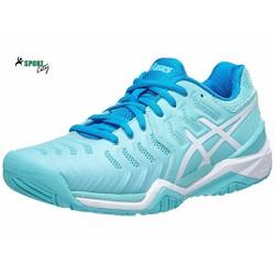 Giầy tennis nữ Asics Gel Resolution 7 AquaWhiteBlue Womens Shoes