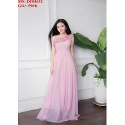 Đầm dự tiệc màu hồng lệch vai xinh đẹp DDH632