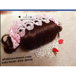 Băng đô  mái tóc giả  nơ chấm bi hồng