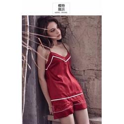 Đồ bộ ngủ hai dây phi lụa mềm mịn mát hàng xuất khẩu cao cấp - B700