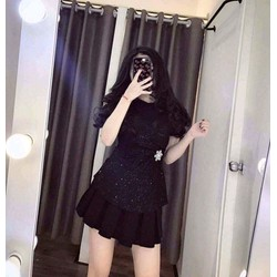 Sét áo kim tuyến tag eo chân váy