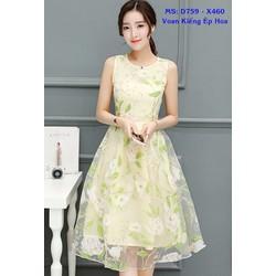 Đầm Xòe Voan Kiếng Ép Hoa