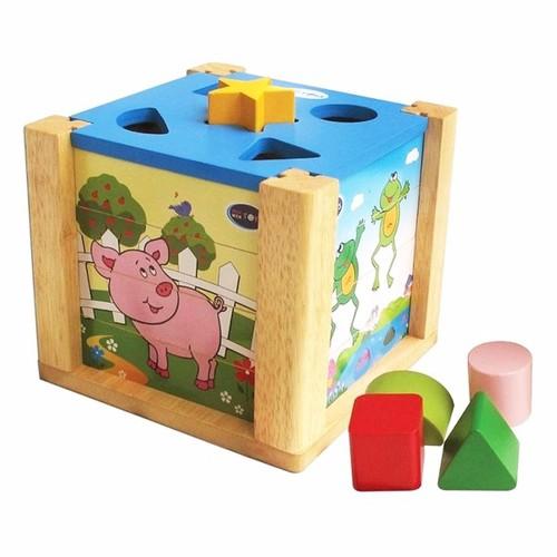 Đồ chơi gỗ winwintoys hộp xếp hình thả khối 69022
