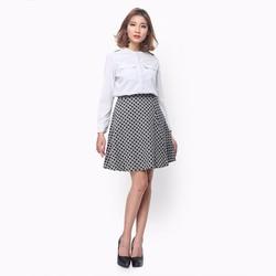 Chân váy xòe caro thời trang màu trắng đen