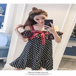 Đầm suông chấm bi nơ đỏ