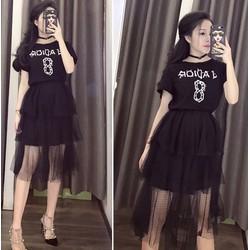 Set áo + chân váy lưới