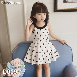 Váy đầm công chúa hở vai in họa tiết chấm bi cho bé gái giá rẻ