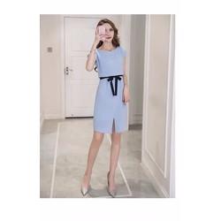 Đầm xanh eo nơ đen - NR205