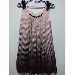 Hàng thanh lý - Đầm voan chữ A 2 lớp chấm bi vải mịn đính đá