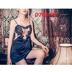 Đầm ngủ hai dây thun lụa mềm mịn mát hàng xuất khẩu cao cấp - D708