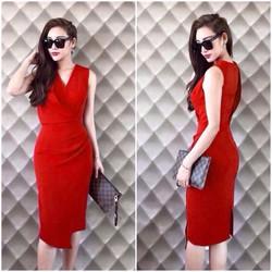 Đầm body đỏ cổ V sang chảnh - NR204