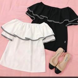 Set áo trễ vai viền chân váy