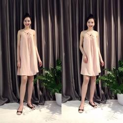 váy xuông cổ yếm hồng