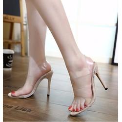 Giày cao gót 2 quai ngang trong suốt dây hậu