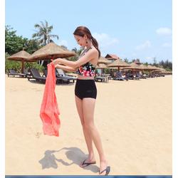 đồ bơi nữ, bikini kín đáo, bộ bikini cạp cao họa tiết hoa