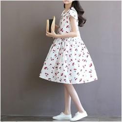 Đầm bầu họa tiết cherry