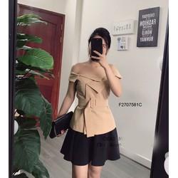 Set áo trễ vai kèm belt chân váy đập ly -MS: S270747 Gs 185K