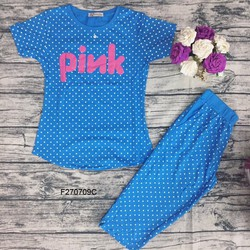 Set bộ thun Pink bi quần lửng hàng nhập - MS: S270750 Gs: 90K