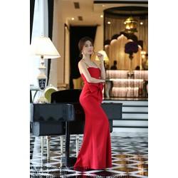 Chuyên sỉ - Váy dạ hội đỏ phối nơ eo độc đáo như Diễm My