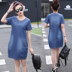 Đầm Jean Cổ Tròn Phối Túi Dây Kéo