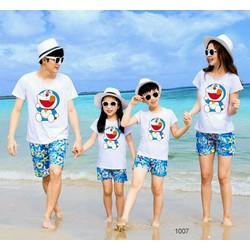 Áo gia đình Doremon chất cotton co giãn 4 chiều