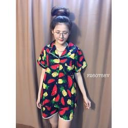 Set bộ kate trái cây quần short hàng thiết kế- MS: S260749 Gs 85K