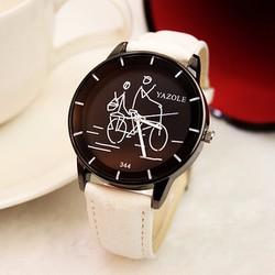 Đồng hồ nữ thời trang Yazole 344. Đồng hồ dây trắng cá tính-mặt đen