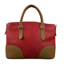 Túi Xách Nữ Style Màu Đỏ Phối Màu Vàng Bò Da Bò Nhập