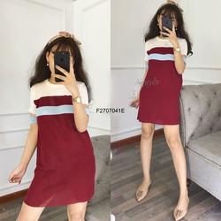 Đầm suông len sọc màu tay con hàng nhập! MS: S270782 Gs: 140K