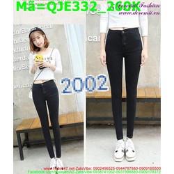 Quần jean nữ lưng cao màu đen đơn giản QJE332