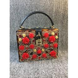 Túi xách hộp hoa hồng Super