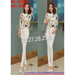 Quần jean nữ lưng cao 5 nút sành điệu màu trắng trẻ trung QJE328
