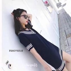 Đầm suông len cổ tim viền hàng nhập - MS: S260757  Gs: 135k