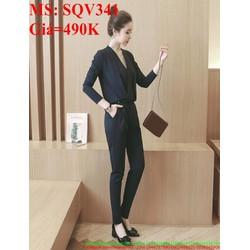 Sét áo dài tay đắp chéo phối quần ống ôm dài sành điệu SQV341