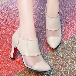 Giày Boot da cổ thấp phối lưới CK187