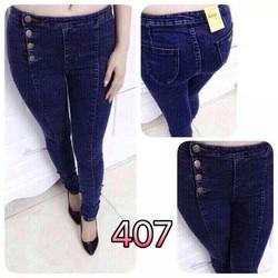 quần jeans dài nút lệch