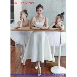 Đầm xòe sát nách màu trắng xinh đẹp và thời trang DXV289