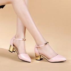 Giày gót vuông quai trang trí CK181