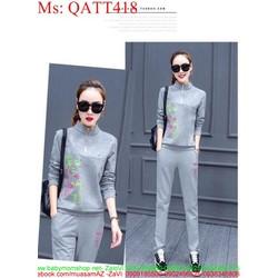 sét thể thao nữ kiểu áo cổ trụ hoa văn sành điệu phối quần dài QATT418