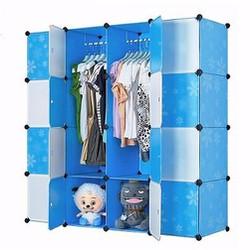Tủ quần áo giá rẻ 16 ô xanh hoa trắng