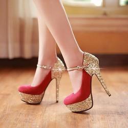 Giày cao gót quai kim tuyến CK189