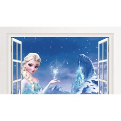 Decal dán tường cửa số công chúa ELsa