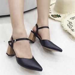 giày gót vuông mũi nhọn