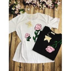 Áo phông thêu hoa hàng thái