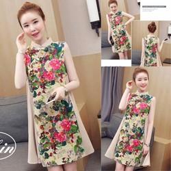 Đầm suông cổ tàu phối họa tiết hoa cao cấp - hàng nhập Quảng Châu