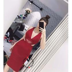 Đầm body cổ yếm khoét eo - A30811