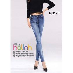 Quần jean xanh lưng cao  rách nhẹ cao cấp