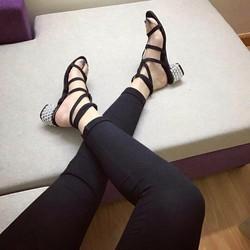 Giày gót vuông đá rọ - G05972