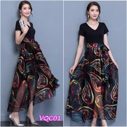 Hàng Nhập: Đầm thun chân váy hoa YKVQC01