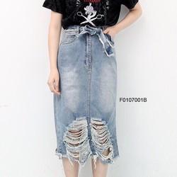 Chân váy jean dài rách cột eo hàng thiết kế -MS: S010755 GS:  100K